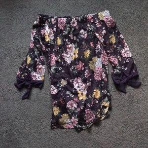 Dark Purple floral blouse